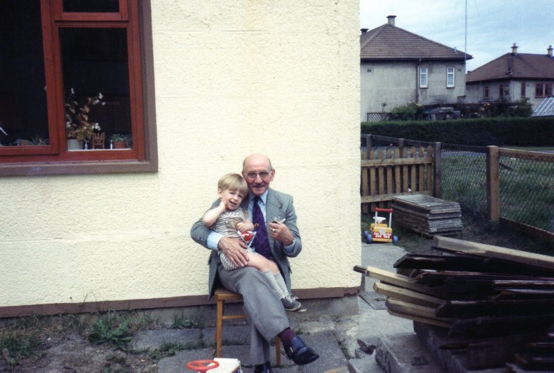 Christopher Jon Dodgson with his Grandad Chute